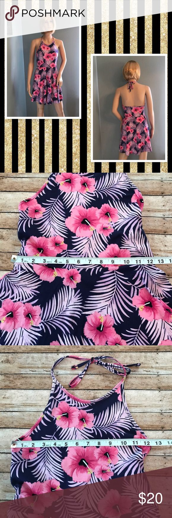 VS PINK Halter Dress NWT!!! Beautiful pink flowers and dark purple background. 94% cotton/6% elastane. Petite Small PINK Victoria's Secret Dresses