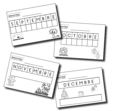 Découvrir l'écrit - Les mois de l'année (sept. à déc.) MS