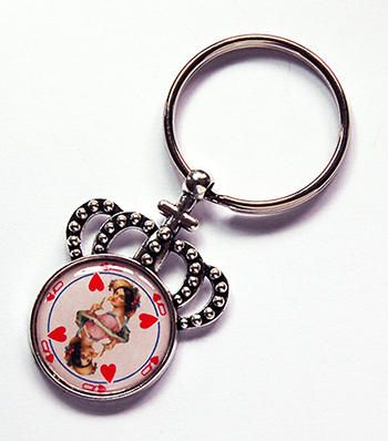 Queen of Hearts keychain Crown Keyring stocking stuffer