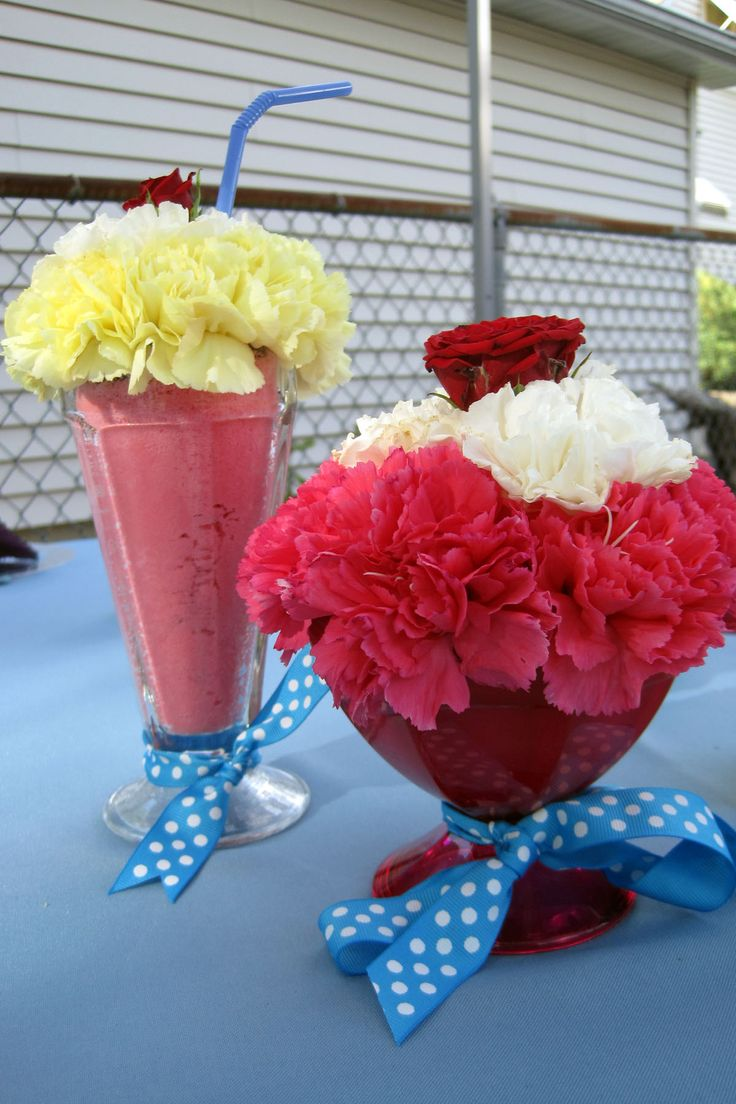 Sock Hop Decorations, Sundae And A Milk Shake  Make With Carnations