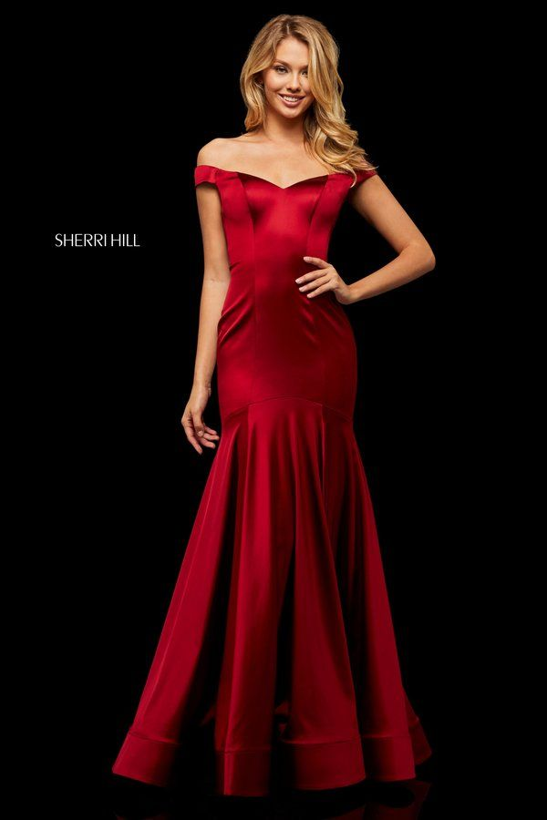 cb60c15f93 Stretch satin mermaid with off-the-shoulder bodice.