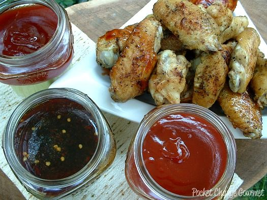 Grilled Naked Wings with Three Sauces from Pocket Change Gourmet blog.  YUM.