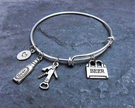 Beer Lover Gift  Beer Charm Bracelet  Bartender Gift  Beer