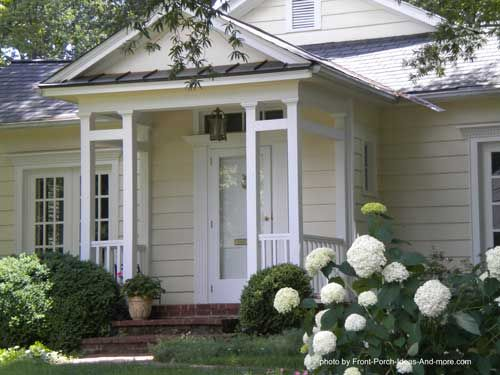 Small and quaint front porch. Found on PorchIdeas.com, who wants to build me a porch?