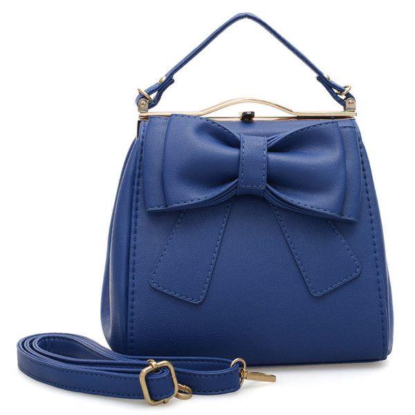 VK Beautiful Tote Handbag With Big Bowknot - Blue