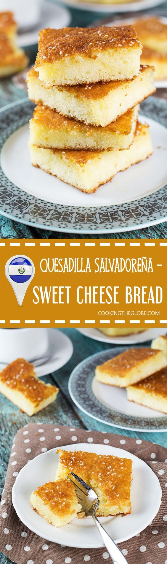Quesadilla Salvadoreña is not your ordinary quesadilla. This one is a dessert! A rich and crazy delicious sweet cheese bread / pound cake from El Salvador. So good! | cookingtheglobe.com