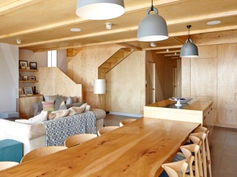 Camber Sands Beach Houses Rye United Kingdom Architect Walker and Martin 2014 View of plywood staircase and wall