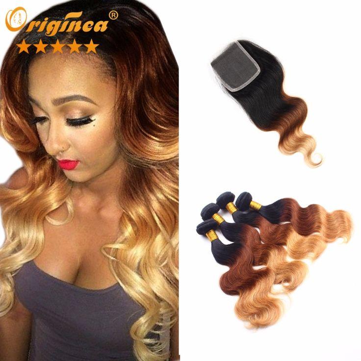 Brazilian Body Wave 4 Bundles With Closure Ombre Three Tone Brazilian Weave Hair With Closure Ombre Hair Extensions With Closure