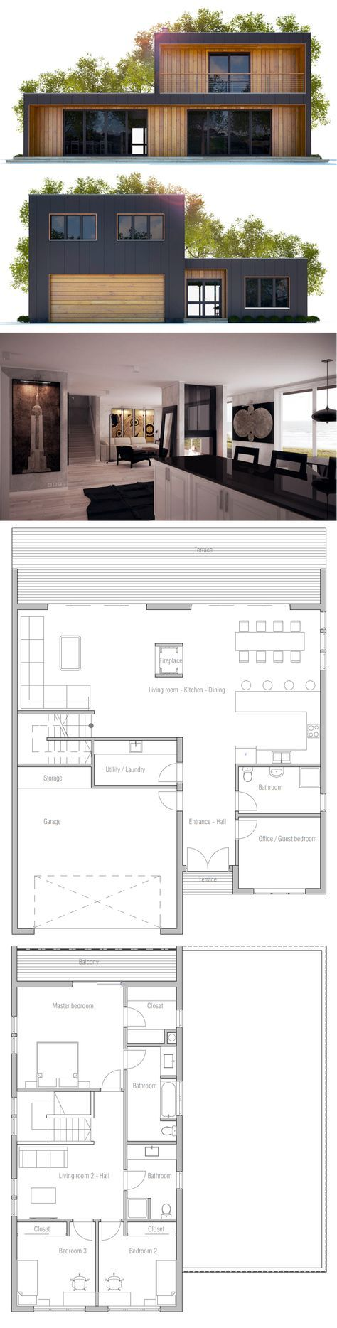 Oltre 25 fantastiche idee su case a 2 piani su pinterest for Piani di casa in collina con garage sottostante