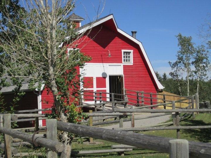 Red barn at Heritage Park in Calgary, Alberta.