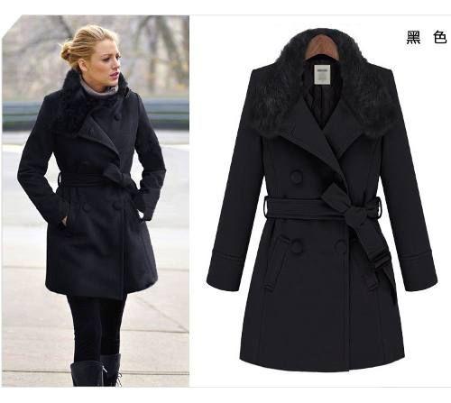 casaco sobretudo importado lã preto e bege (frete grátis)