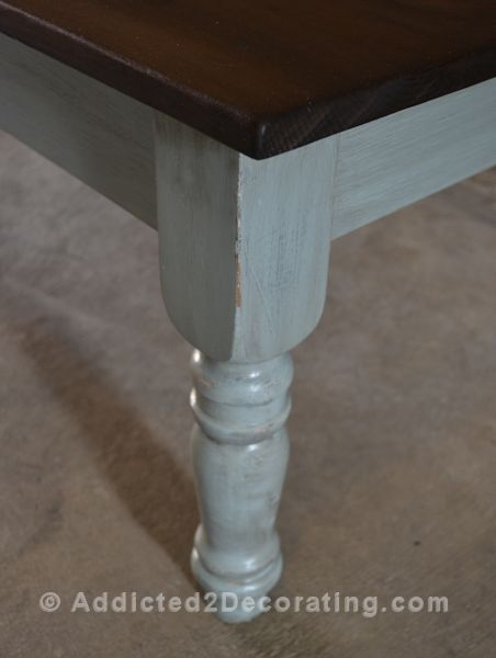 tells how to give paint an antiqued look with special minwax after hand sand to painted areas