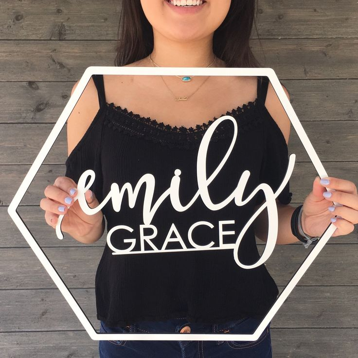 Just added! Super cute wooden hexagon outline cutout with a first and middle or last name sign in the center! #name #sign #wooden #nursery #decor #wedding #ideas #backdrop #babyroom #babyshower #gift #etsy #ngocreations #moderncalligraphy #lasercut