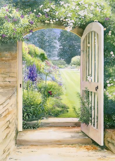 A Cotswold Manor Garden - watercolour by Dorothy Pavey