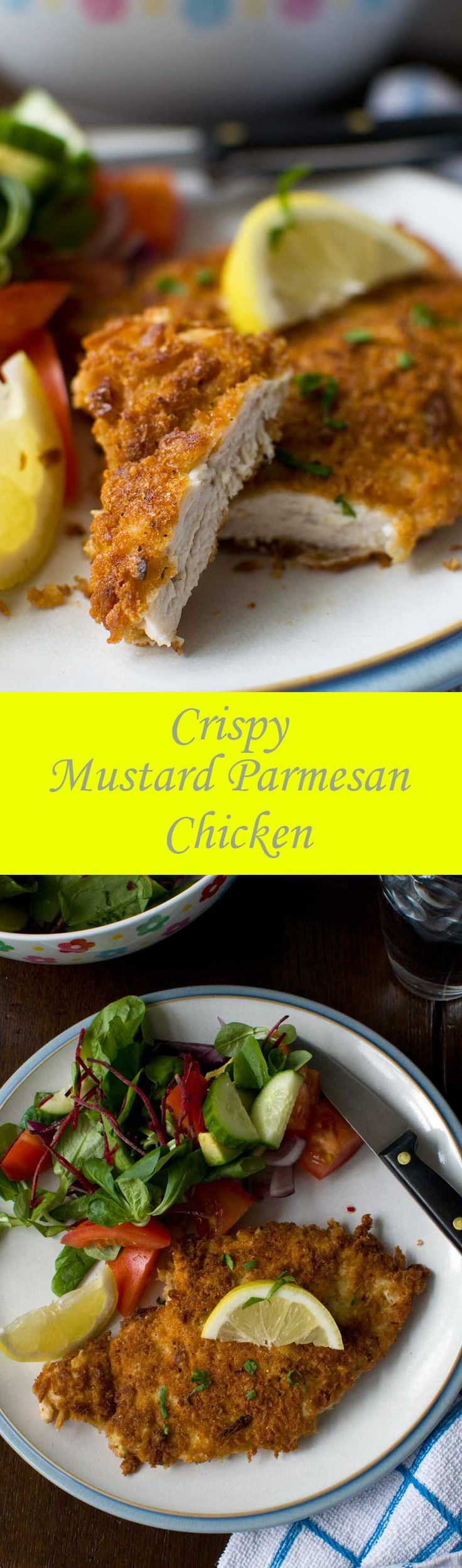 This crispy mustard parmesan chicken is like a chicken schnitzel, but tastier and easier to make! @scrummylane
