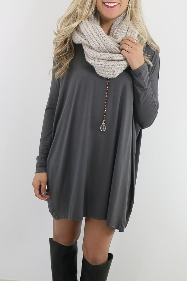 Ellington Dark Grey Long Sleeve Piko Dress