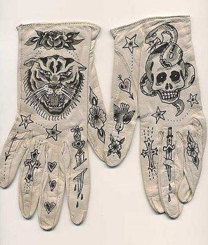 Ellen Greene, tattooed leather gloves
