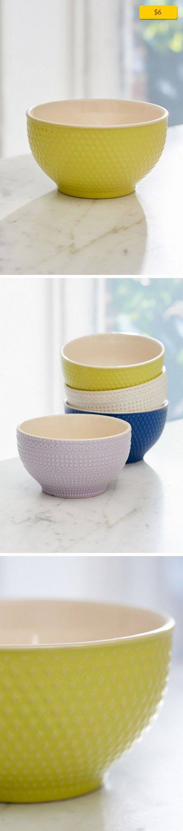 """Embossed Ceramic Bowl Apartment, Kitchen + Bar   Ceramic bowls embossed with assorted geo patterns; get 1 or a few for a charmingly mismatched set! Perfectly sized for cereal, salad, pasta + more. Microwave safe + food safe; not suitable for the oven or dishwasher. Content + Care - Ceramic - Hand wash - Imported Size - Diameter: 5"""""""
