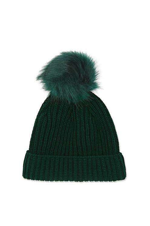 Keep your head warm as the weather gets colder in this dark green beanie with matching faux fur pom to the top. A wardrobe essential for accessorising your outfit. #Topshop