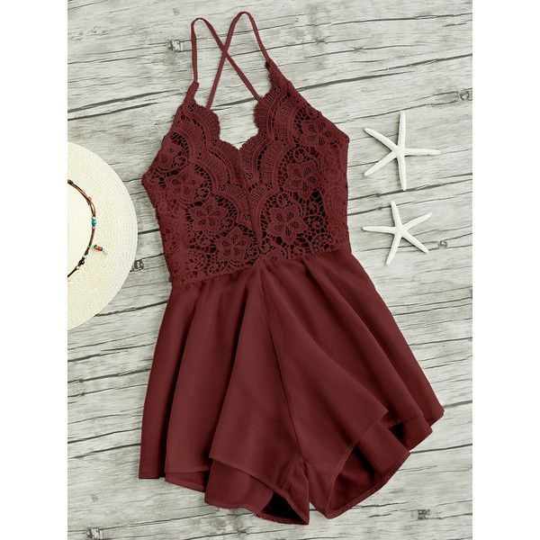Lace Panel Criss Cross Backless Romper ($9.99) ❤ liked on Polyvore featuring jumpsuits, rompers, romper, burgundy, burgundy jumpsuit, red sleeveless jumpsuit, long-sleeve rompers, sleeveless jumpsuit and red rompers