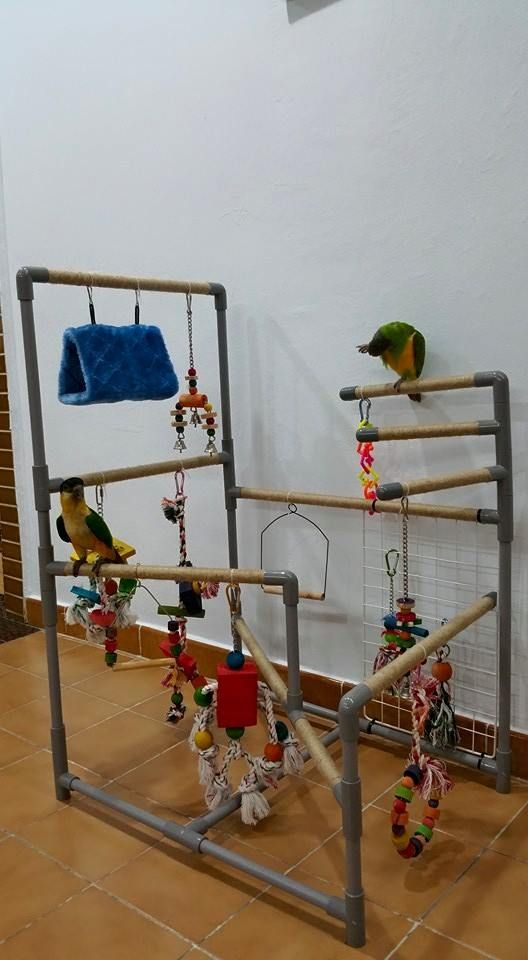 Pvc play gym with sisal rope. Like this but about half as wide with smaller spaces