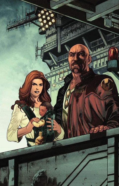 Luke Cage and Jessica Jones by Miguel Sepulveda. Greatest comic book family ever.
