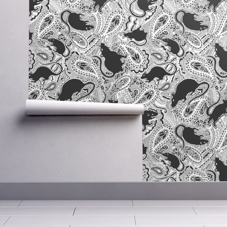 Paisley-Power-black-rat-print on Isobar by paisleypower | Roostery Home Decor #paisley #wallpaper