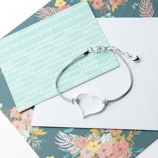 Open Heart Friendship Silver Outdoor Mug Bracelet Multicoloured (Grey Shown)