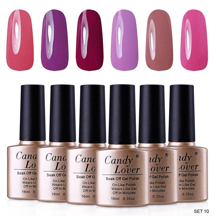 Candy Lover Gel Nail Polish 6pcs Multi Color 10ml/pc Soak Off UV Gel Polish Nail Art ** Want additional info? Click on the image.