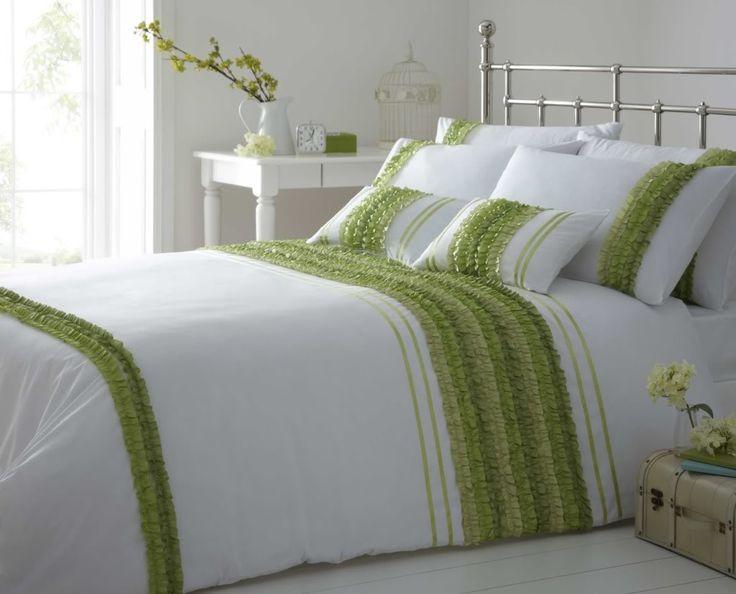 stylish striped ruffle lime green colour modern duvet cover luxury - Modern Duvet Covers