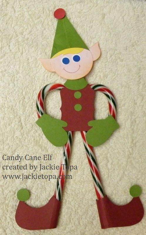 candy cane elf - cute! might be a fun craft to make during our Christmas party!
