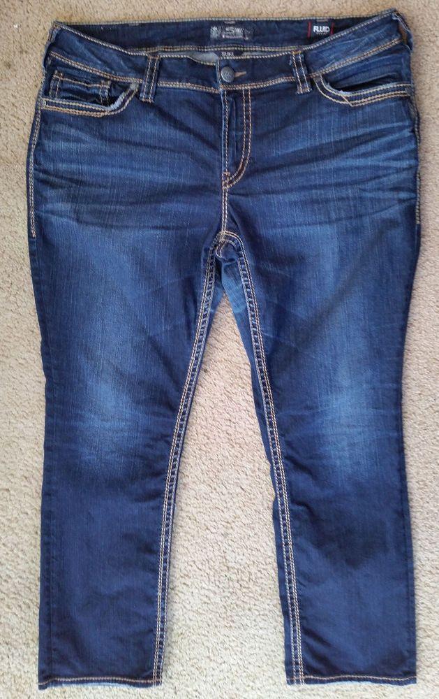 766c7e9914146 Silver SUKI Mid Straight Fluid Denim Jeans Women s Light Distressed Plus Size  20  fashion