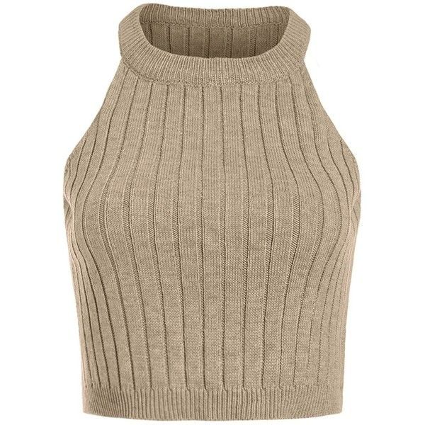 SweatyRocks Cami Top Knitted Crop Top Ribbed Tank Undershirt ($9.99) ❤ liked on Polyvore featuring tops, brown camisole, camisole tank top, cropped camisole, brown crop top and crop tank