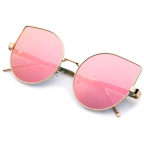 SheIn(sheinside) Metal Frame Pink Cat Eye Sunglasses (€11) ❤ liked on Polyvore featuring accessories, eyewear, sunglasses, glasses, cateye sunglasses, metal frame sunglasses, pink sunglasses, pink glasses and cat-eye glasses