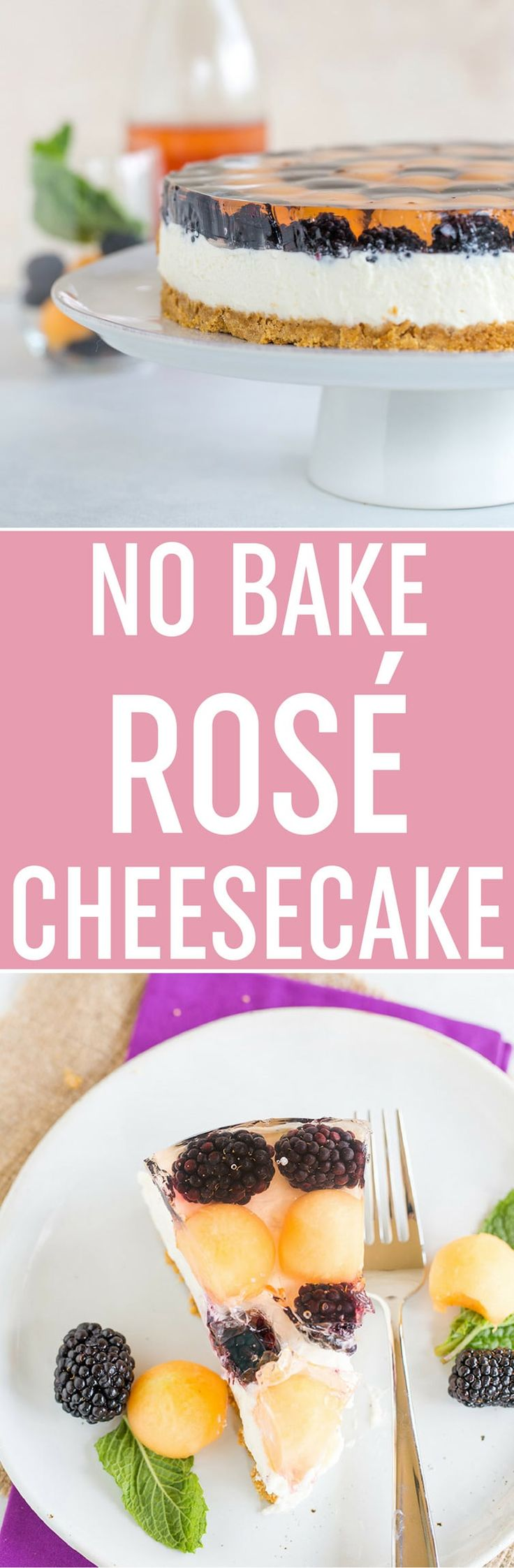 No Bake Rosé Cheesecake - A graham cracker crust with a no bake, rosé-infused cheesecake filling, topped with a cantaloupe and blackberry rosé gelatin. It's easy, summery, and a total show-stopper; a must make it for National Cheesecake Day! Sponsored by @spreadphilly. via @browneyedbaker