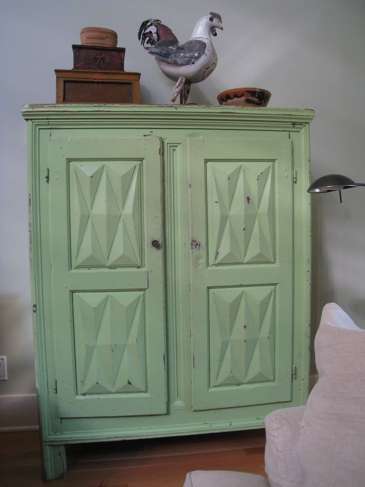 """Diamond-point armoire late 18th century Illustrated: """"Canadian Country Furniture"""" by Michael Bird page 157 original Prussian blue paint with four overpaints of white, cream, grey, and green"""