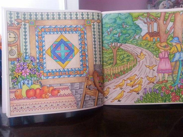 Páginas do livro Pinte o Quilt no Campo colorido pela Ana Cristina Bastos.