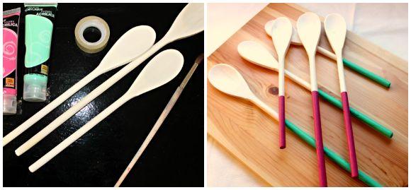Cucharas de madera pintadas - DIY