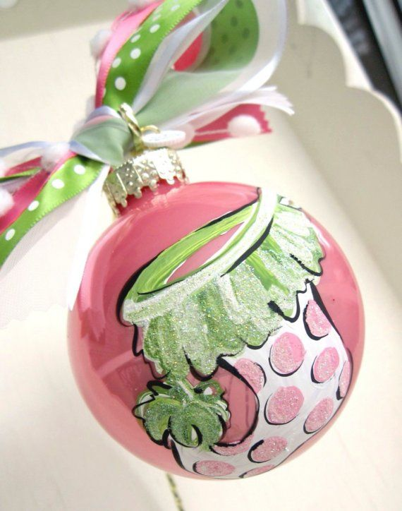 Handpainted Ornament with Ribbon