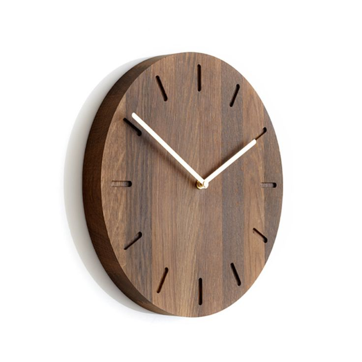 Applicata Watch:Out smoked oak clock with brass hands | hardtofind.