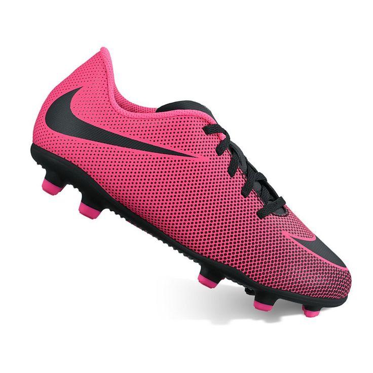 Nike Jr. Bravata II Kids' Firm-Ground Soccer Cleats, Kids Unisex, Size: 12, Pink