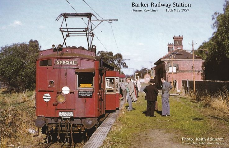 1957: Barker Railway Station - one of the two stations that was part of the former Kew line. It was located between Barkers Road and Hawthorn Grove and while regular passenger services ceased in 1952, this swing door motor ABM was used to mark the end of the Kew rail line in May 1957. As you can see from the photo, five years of inactivity was starting to take its toll