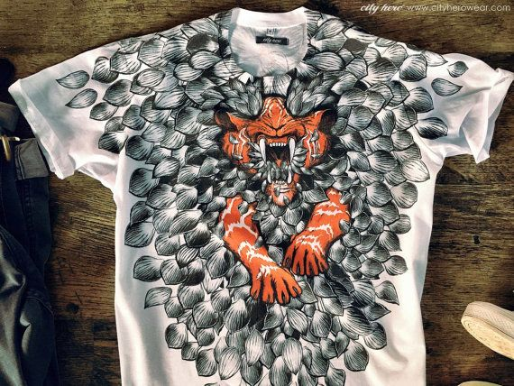 RRED T-shirt with tiger and lotus petals | Mens tshirt | Graphic tshirt | Gifts for him | Tiger | Lotus Flower