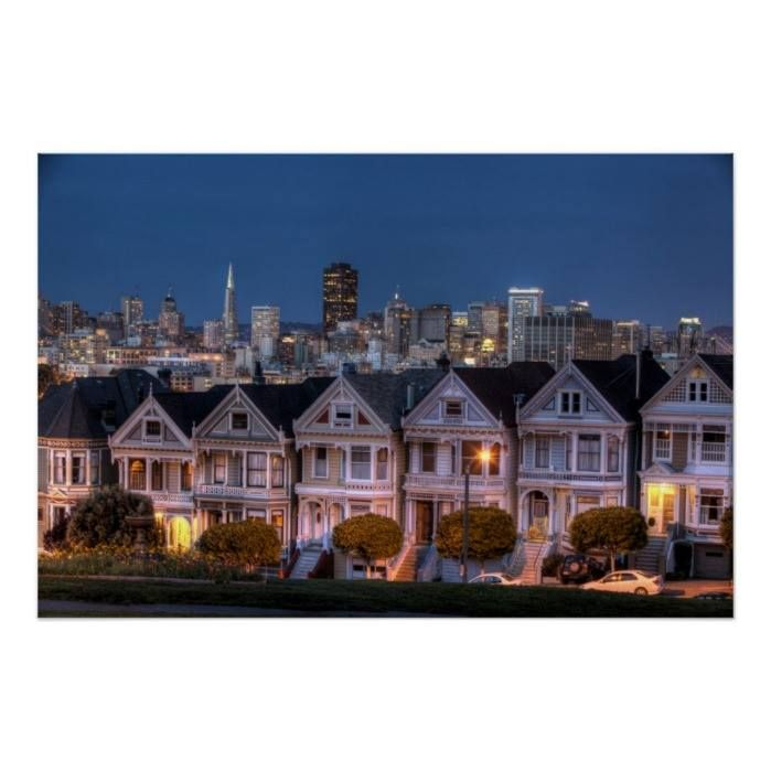 Customizable #2010 #Alamo#Square #Architecture #Building#Exterior #California #City#Life #Cityscape #Color#Image #Community #Consumerproduct #Horizontal #House #Illuminated #In#A#Row #Night #No#People #Outdoors #Photography #San#Francisco#California #Sky #Skyline #Skyscraper #Street#Light #Tranquility #Travel#Destinations #Tree #Usa Night view of 'painted ladies'  houses poster available WorldWide on http://bit.ly/2fmwbZl