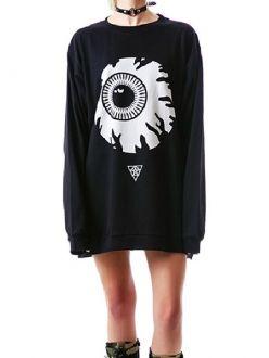 Black Eyeball Printed Loose Long Sleeve T-shirt