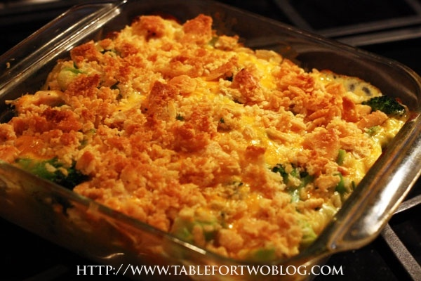 broccoli, chicken & rice casserole - could do with just veggies and Daiya maybe a lite cashew cream. Use broccoli, peas, carrots