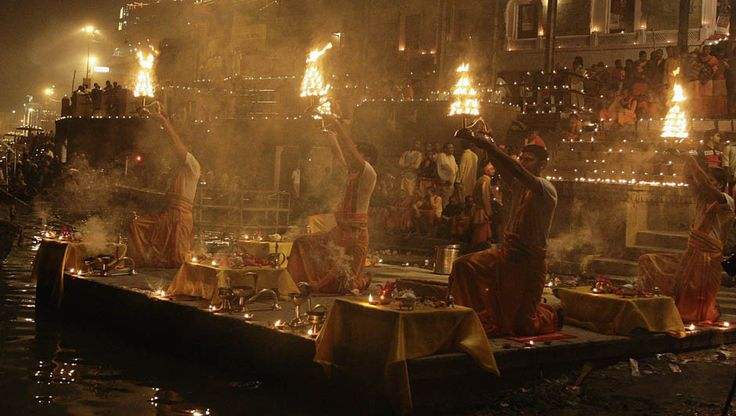 Hindu priests hold oil lamps as they perform prayers on the steps of Sindhiya Ghat during Dev Diwali festival in Varanasi, India, November 10, 2011. (REUTERS/Jitendra Prakash)  Read more: Diwali around the world http://desi-stylebook.com/2015/11/diwali-around-the-world/