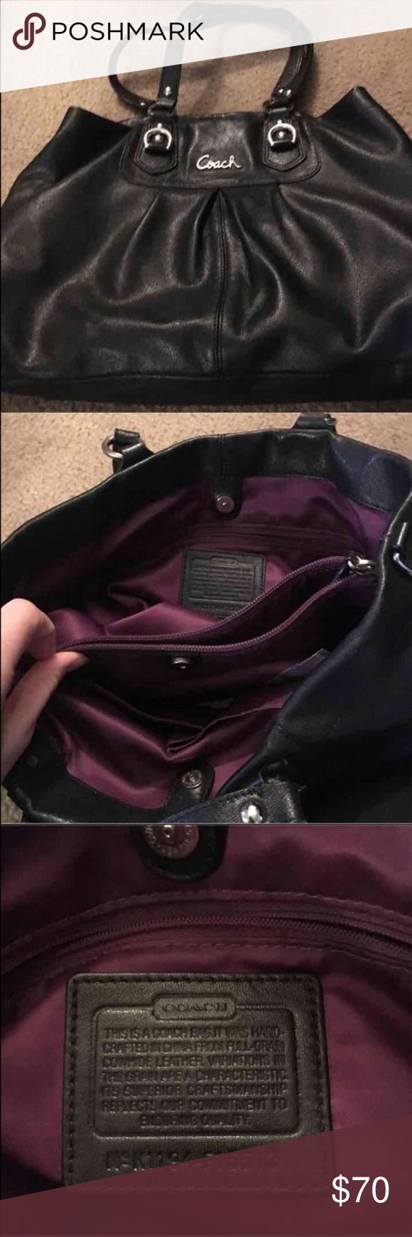 Euc black coach purse Black coach purse in excellent condition. Has purple interior 😊 also there's a tiny white spot on the front right hand side of bag but not notable at all. Open to reasonable offers 😊 Coach Bags Shoulder Bags