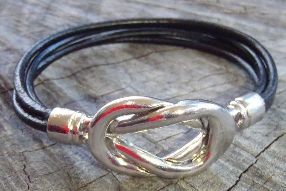 Black leather Bracelet offset with a Focal by BrigittesJewels, $15.00