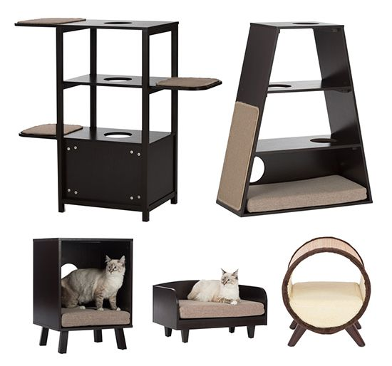 New Modern Cat Furniture from This new line of modern cat furniture from Studio Designs includes cat beds, cat trees and cat scratchers that are functional, affordable and attractive. The whole line is made from espresso melamine with foam cushions and carpet scratch pads. Overall it has a nice clean, modern look that will look nice in many homes.